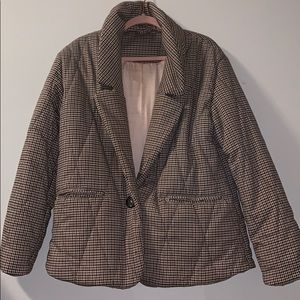 Free people houndstooth puffer coat